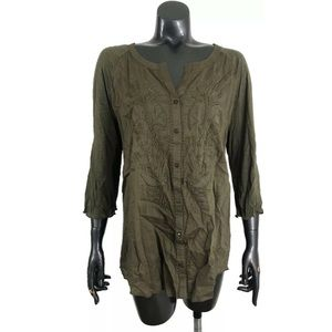 Nine West Petite XL Olive Green Top Embroidered